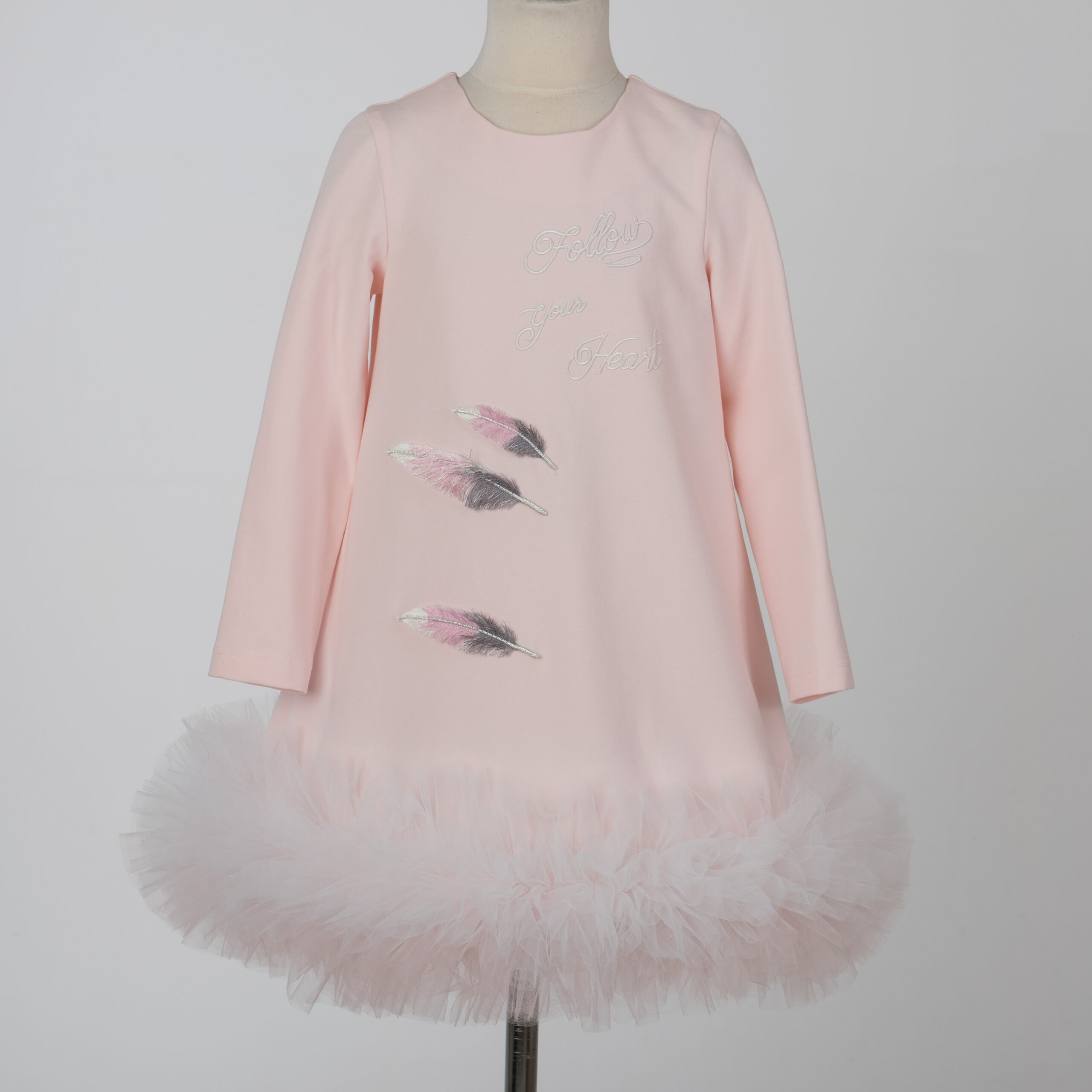 Daga Pink Tule Dress With Feathers