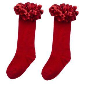 Caramelo Red Ruffle Ribbon Knee Length Sock