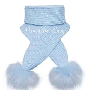Pom Pom Envy Blue Scarf