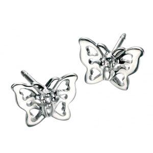 D for Diamond Butterfly Earrings
